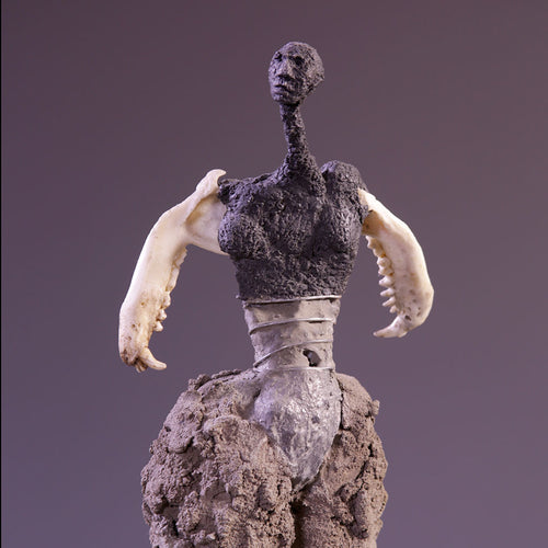 Concrete & mixed media female figure sculpture