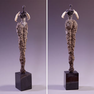 Female figure sculpture, concrete & found objects