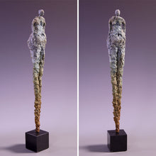 Load image into Gallery viewer, Tall concrete female figure sculpture on marble base