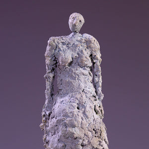 Female figure sculpture, concrete on marble base