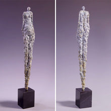 Load image into Gallery viewer, Tall female figure sculpture, concrete on marble base