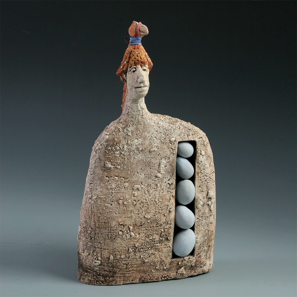 Ornithologist ceramic sculpture