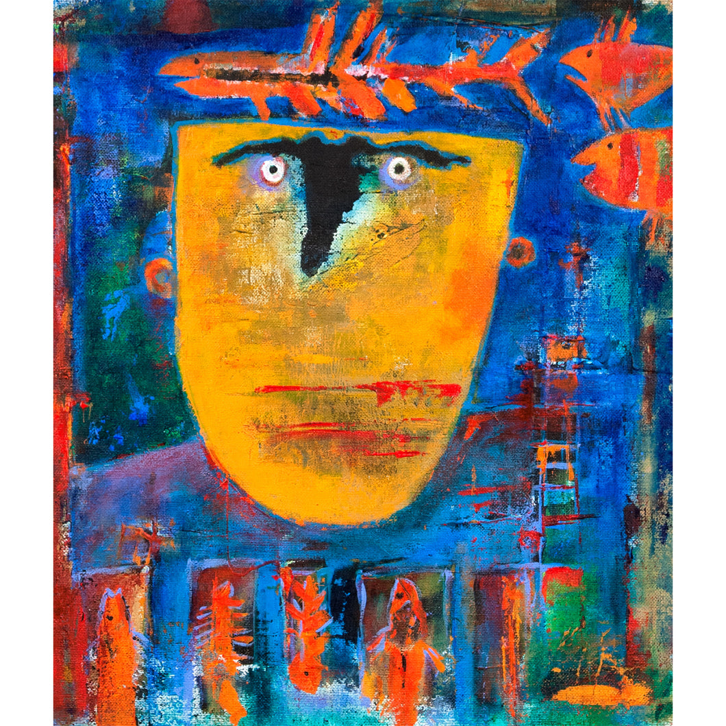 Painting colorful face acrylic on canvas