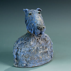 Ceramic blue dog sculpture