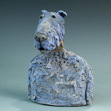 Load image into Gallery viewer, Ceramic blue dog sculpture