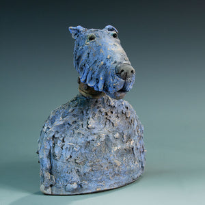 Blue ceramic dog sculpture