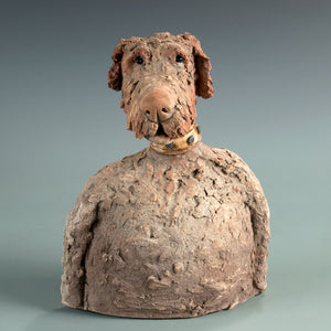 Whimsical ceramic dog sculpture