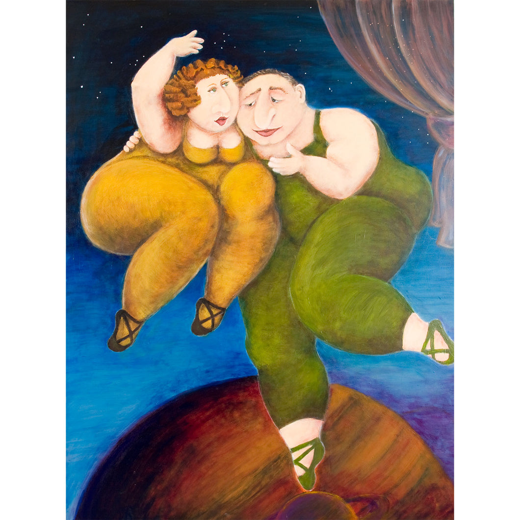Two dancers acrylic on canvas painting