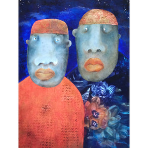 Mixed media painting of Moroccan couple