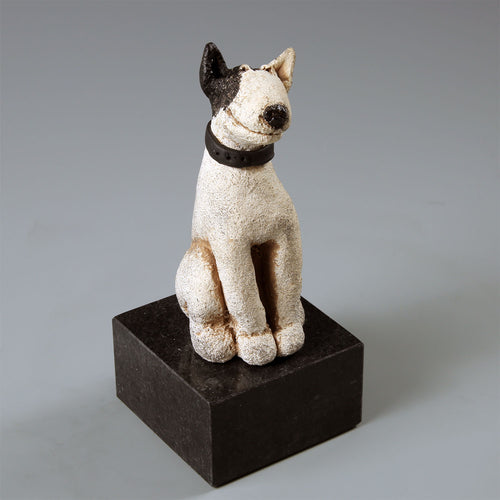 Ceramic Bull Terrier white with black