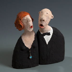Male and female singers ceramic sculptures