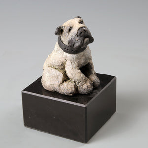 Small ceramic English bulldog sculpture