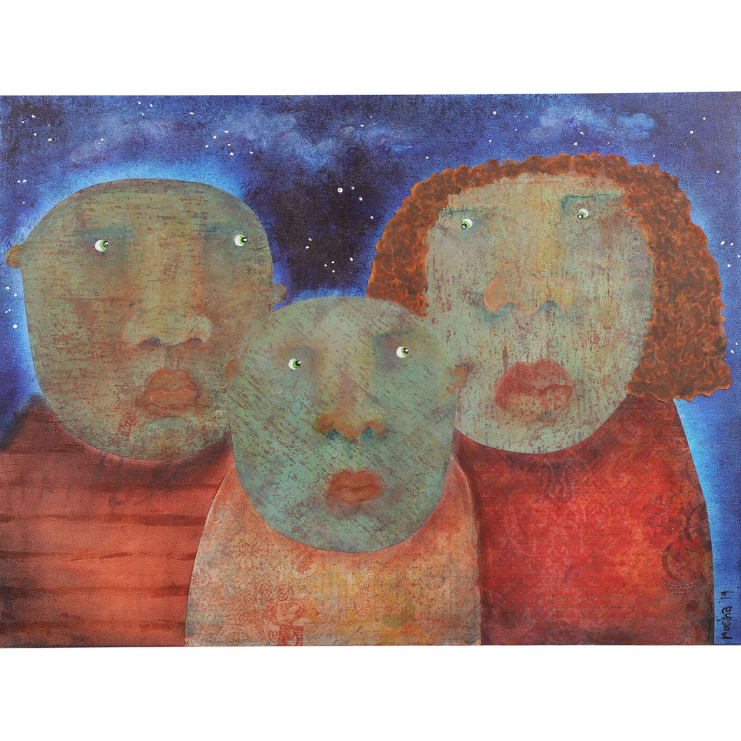 Mixed media painting of parents with young child