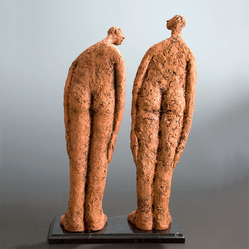 Ceramic sculpture two nude men