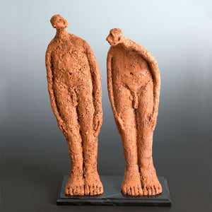 Ceramic sculpture two naked men