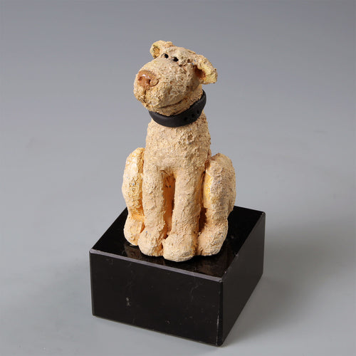 Small ceramic Labradoodle dog sculpture