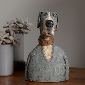 Ceramic great dane dog sculpture