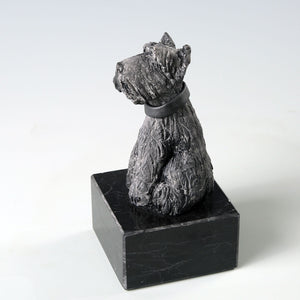 Black ceramic Scottish Terrier dog sculpture