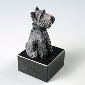 Ceramic black Scottish Terrier dog sculpture