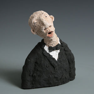 Singer bust sculpture finished in stains & underglazes