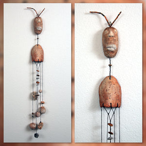 Wall hanging. Abstract mantis. Ceramic & mixed media