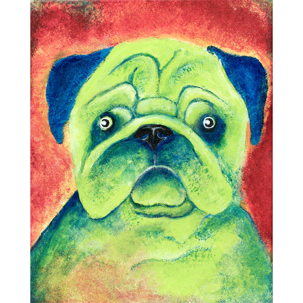 Pug dog painting, acrylic on canvas
