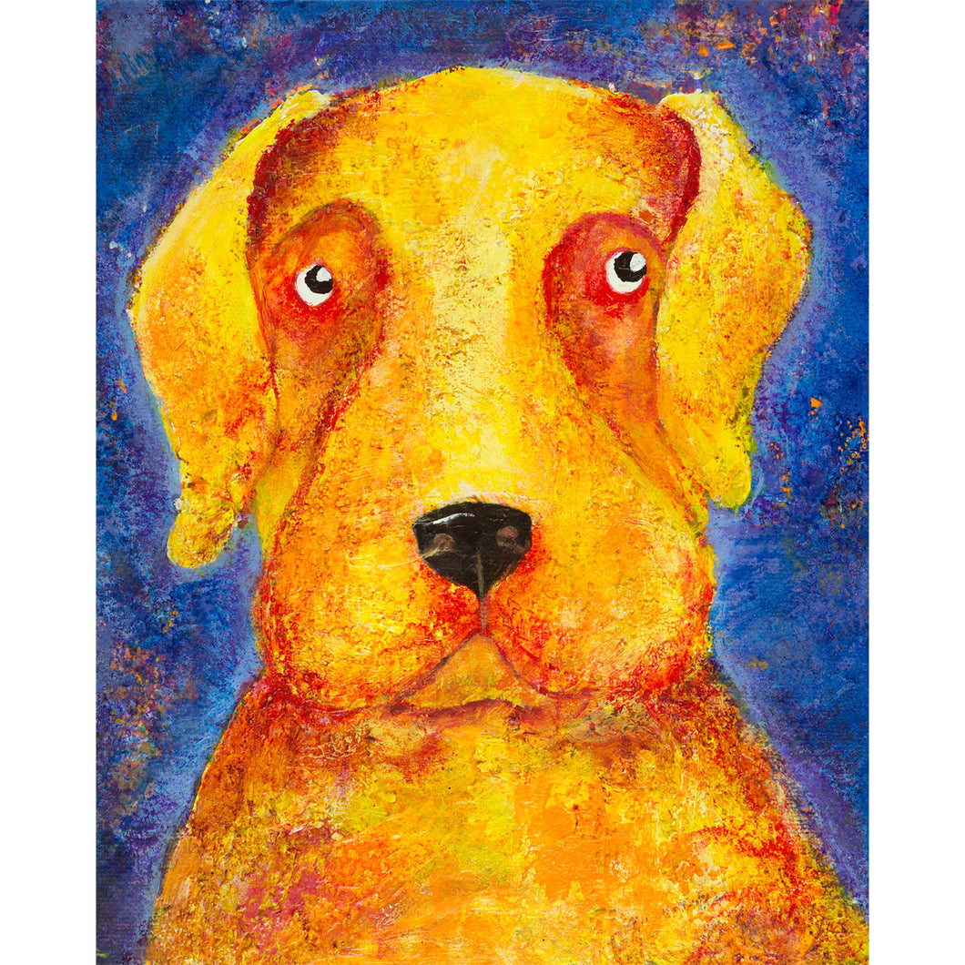 Yellow Labrador dog painting, acrylic on canvas