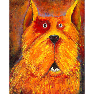 Bright color dog painting with surprised look
