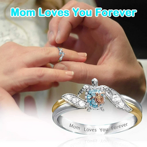 Mom Loves You Forever Turtle Statement Ring