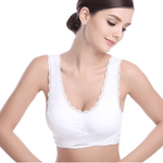 Pure Comfort Front Cross Side Buckle Wireless Lace Bra TopViralPick