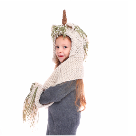 Crochet Cartoon Unicorn Hat With Scarf Pocket ( Buy 2 Get Extra 10% Off )