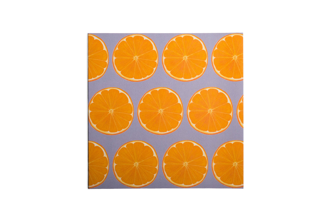 Grey Orange Slice Greetings Card