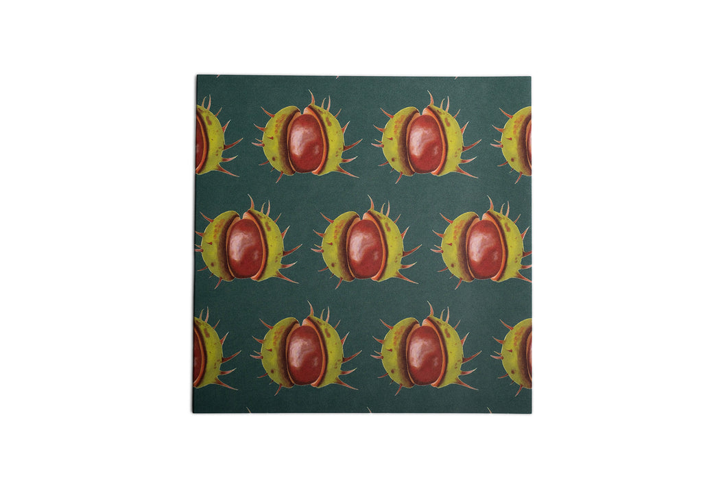 Green Conker Greetings Card