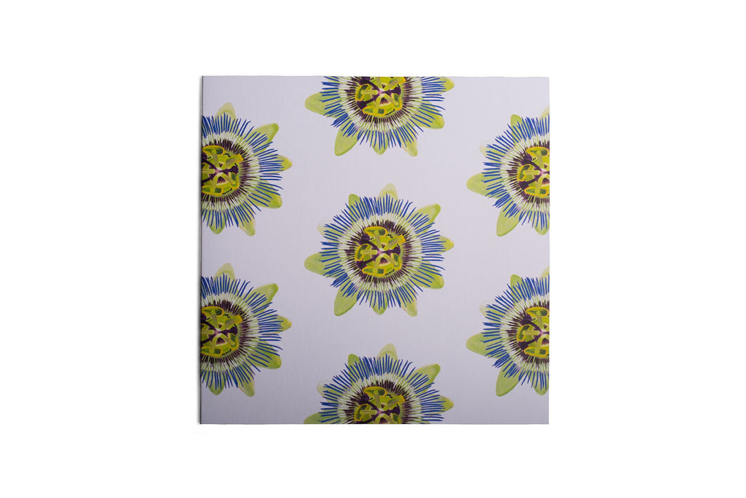 White Passion Flower Greetings Card