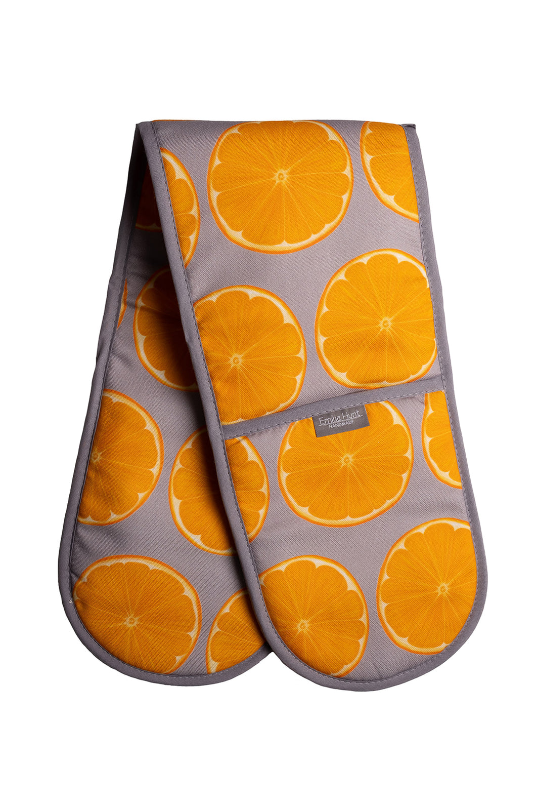 Grey Orange Slice Double Oven Gloves