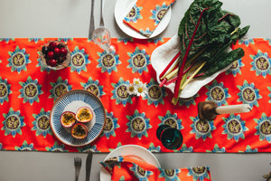 Coral Passion Flower Table Runner
