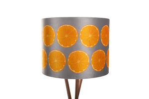 25cm Grey Orange Slice Velvet Lampshade