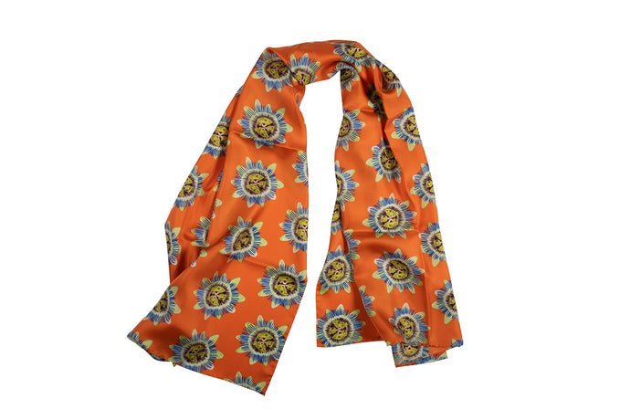 Coral Passion Flower Silk Scarf