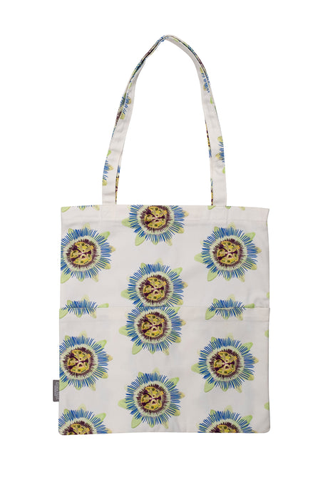 White Passion Flower Tote Bag