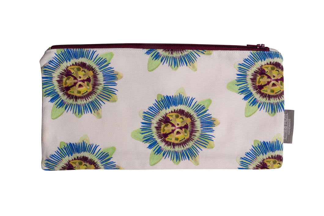 White Passion Flower Zip Pouch - Large
