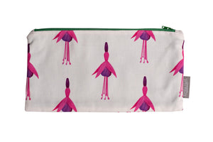White Fuchsia Zip Pouch - Large