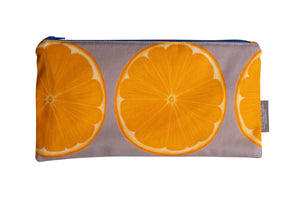 Grey Orange Zip Pouch - Large