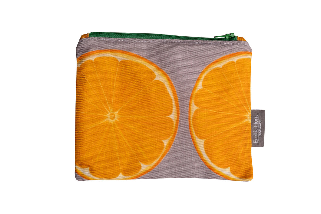 Grey Orange Zip Pouch - Medium