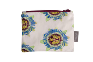White Passion Flower Zip Pouch - Medium