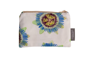 White Passion Flower Zip Pouch - Small