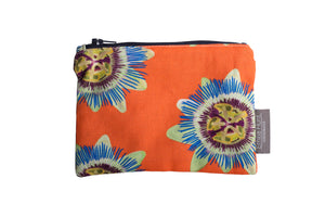 Coral Passion Flower Zip Pouch - Medium