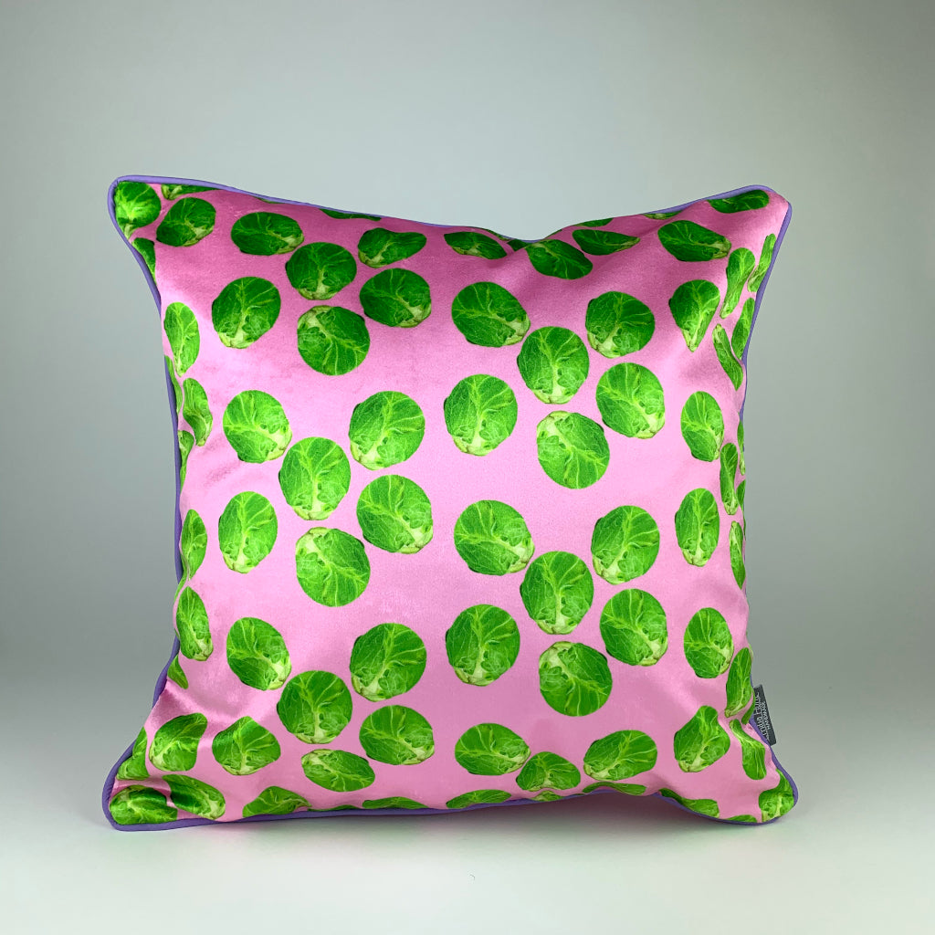 Pink Sprout Velvet Cushion
