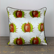Load image into Gallery viewer, White Conker Velvet Cushion