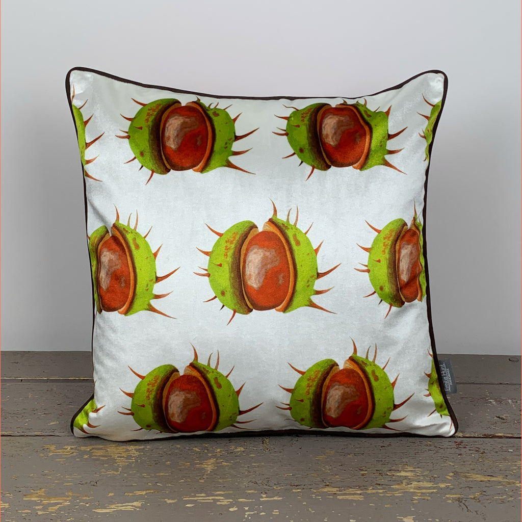 White Conker Velvet Cushion