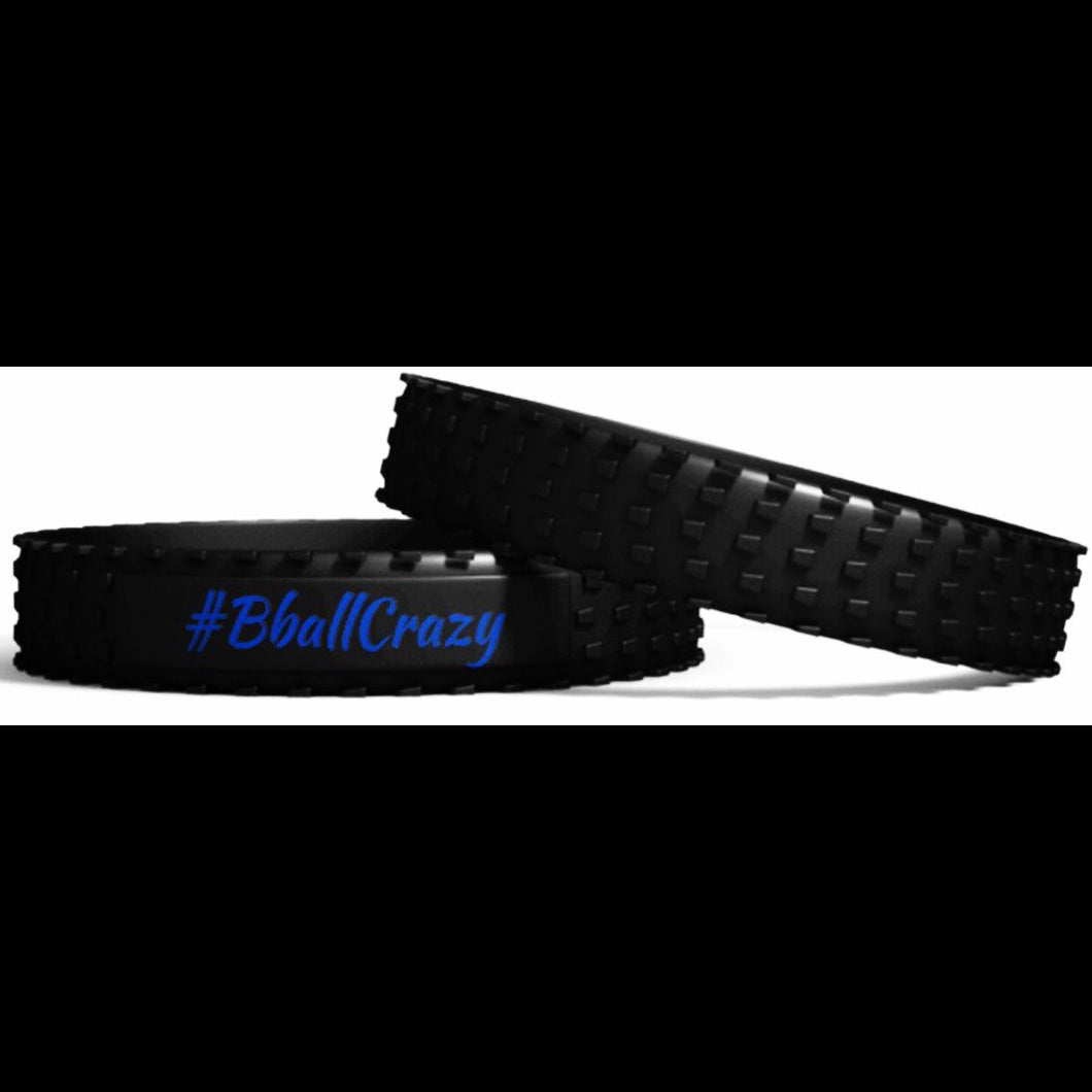 #BballCrazy band black with blue in-lay